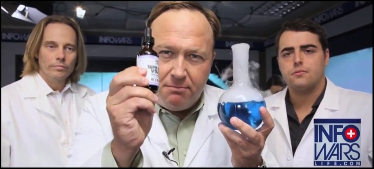 Alex Jones pills with guys in white coats
