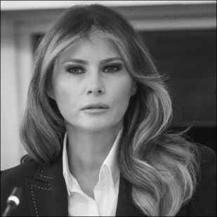Melania Trump head BW