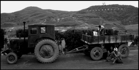 North Korean tractor BW