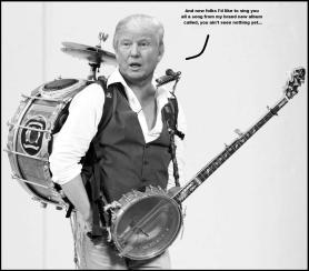 Trump one man band BW