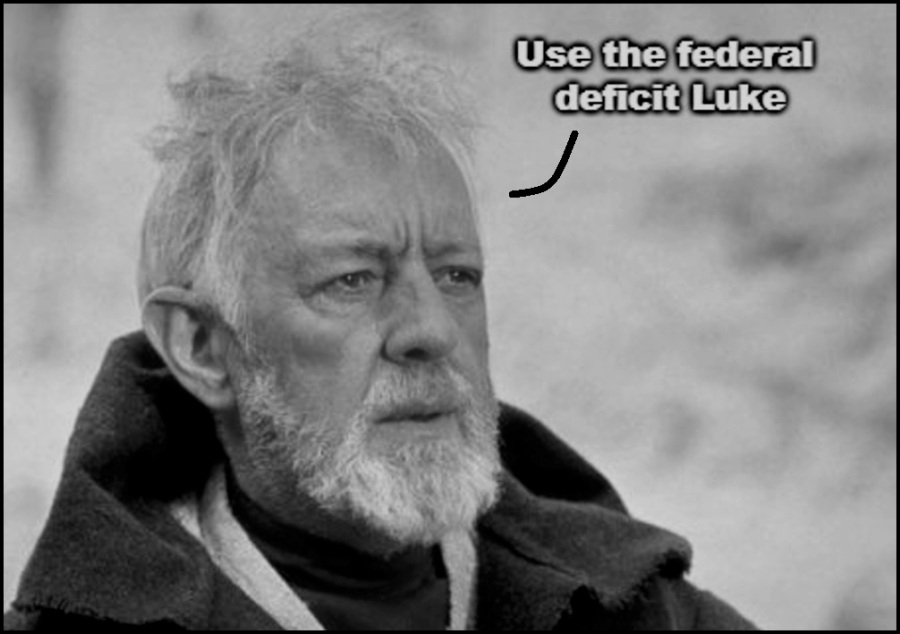 Use the federal deficit Luke…
