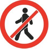 Danger no walking signs RED