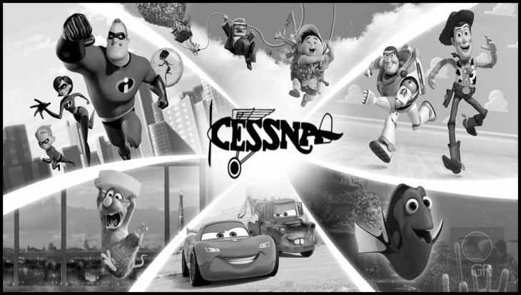 INCREDIBLE PIXAR DISNEY CESSNA BW