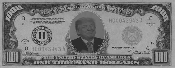 Trump (Grumpy) 1000 dollar bill GREY 560