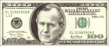 George HW Bush 100 dollar bill