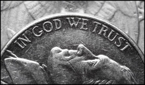 In god we trust coin LARGE DARKER