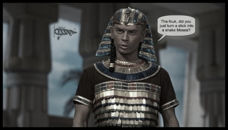 Moses Pharaoh stick into snake Cessna 600 low color