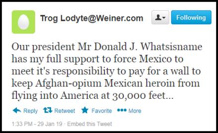 trog lodyte trump support tweet