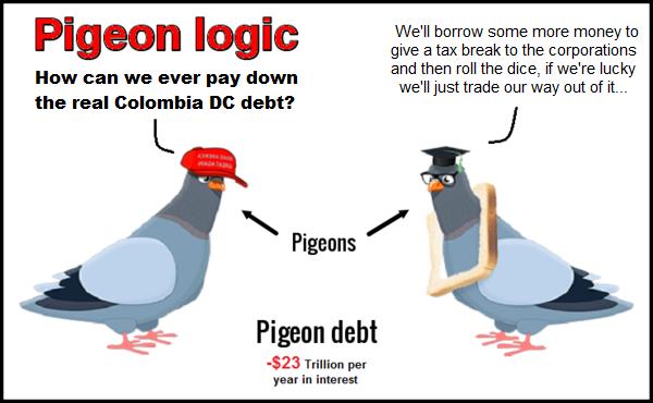 Pigeon logic irresponsible Colmbia DC debt 600