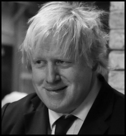 Boris Johnson busking CROP bw bORDER