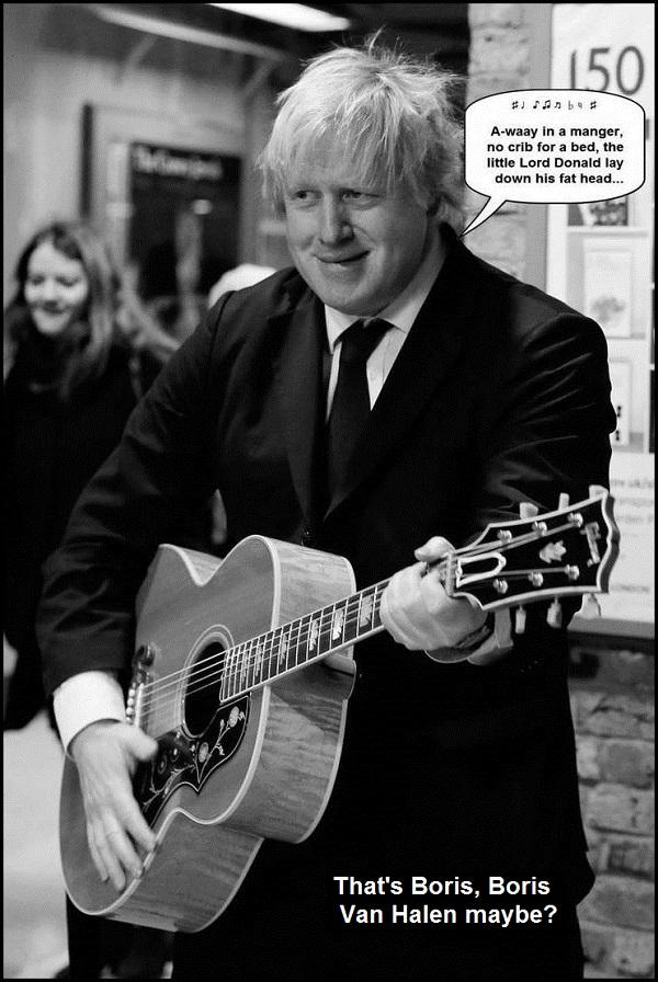 Busker Boris Van Halen busking ~ Away in a manger