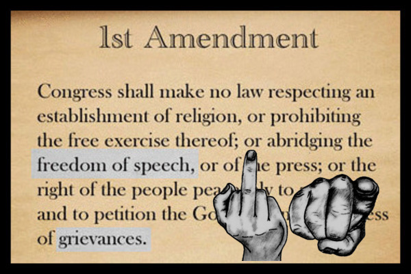 First Amendment finger