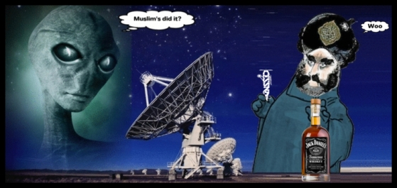 Islam guy Alien Muslim's did it Jack Daniels LARGE