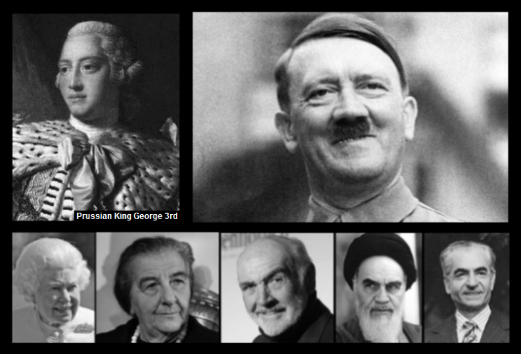 KIng George Hitler Queen Meir Connery Ayatollah Shah