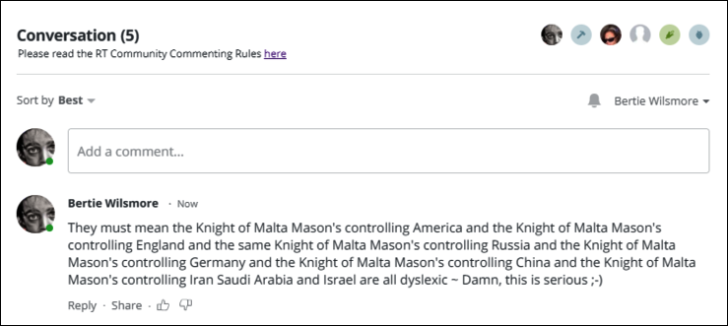 RT ARMS RACE KNight of Malta comment