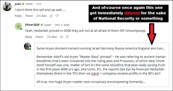 RT Israel bombs something comment ~ Aryan master race EDITED