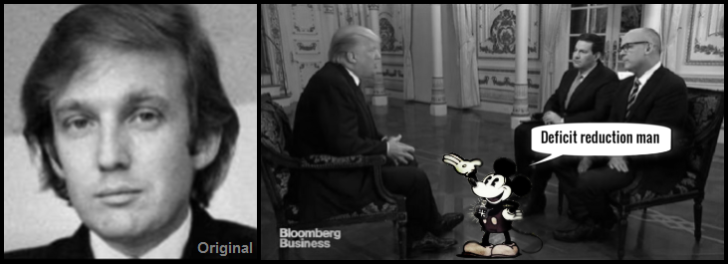 Trump original and fake on Bloomberg Mickey Mouse DEFICIT REDUCTION MAN