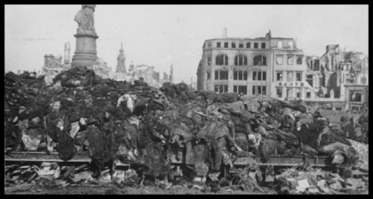 A pile of bodies awaits cremation after the firebombing of Dresden, February 1945 600