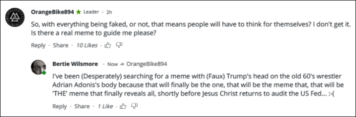 RT Faux Trump Adrian Adonis comment