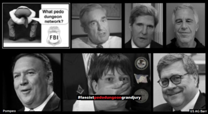 Mueller FBI fake Kerry Epstein POmpeo Barr pedo