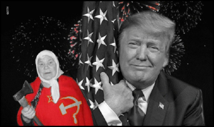 TRUMP flag hugging almost BW Russian Woman in red 730