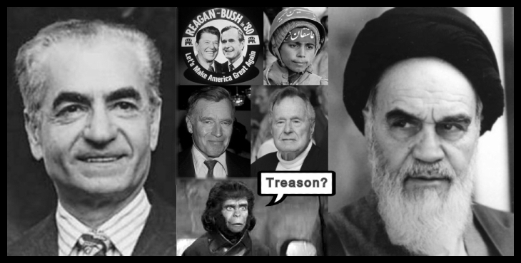 AA APE TREASON reagan-bush-MAGA Iranian boy and Heston and at Bush Compound 730 BORDER10