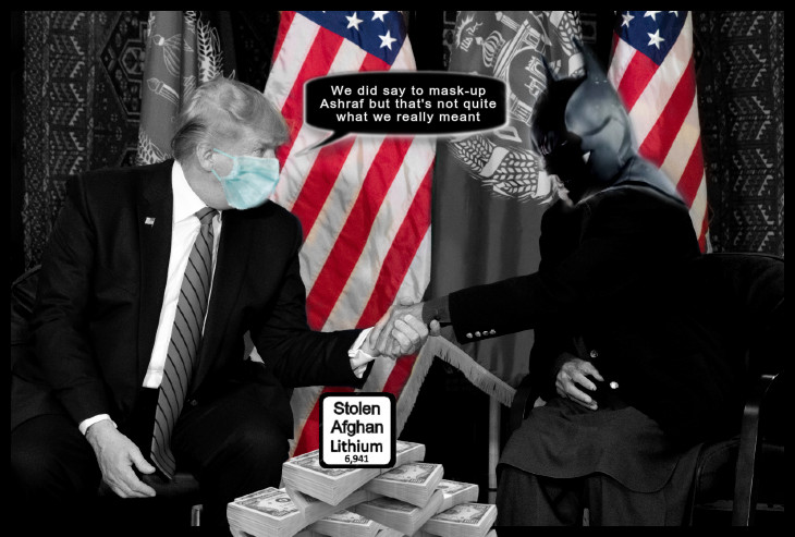 Afghan president Ashraf Batman mask and Faux Trump face mask 730 BORDER EDIT, a tender moment